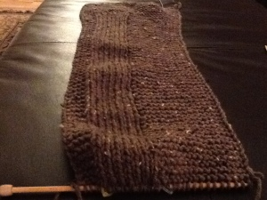 I completed a knit scarf for HBB for Christmas. Still in process here, but trust me, it is finished.